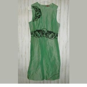 10 Vivienne Tam Green Linen Silk Embroidered Dress